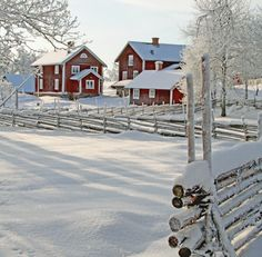 Red farm house in snow / Winter wonderland Winter Szenen, Winter Love, Winter Magic, Winter Christmas, Winter White, Hirsch Illustration, Beautiful Places, Beautiful Pictures, Beautiful Farm