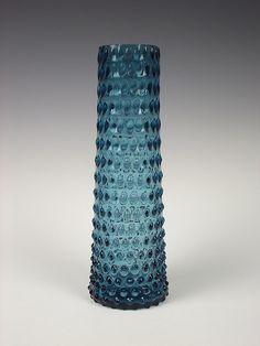Borské Sklo blue glass vase