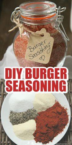 Homemade Dry Mixes, Homemade Spice Blends, Homemade Spices, Homemade Seasonings, Spice Mixes, Turkey Burger Seasoning, Simple Burger Seasoning Recipe, Hamburger Seasoning Recipes, Hamburger Spices