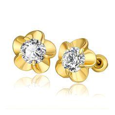 18K Rose Petal Stud Earrings with Austrian Crystal Jewel Made with Austrian Crystal Elements only by: Rubique, Women's