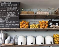 I really like this shelving concept- visible produce/ chalkboard menu