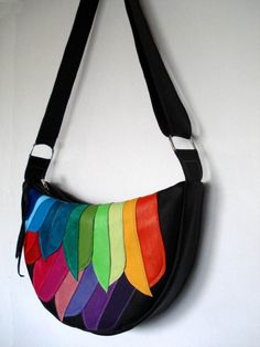 Black Leather Applique Crescent Bag with Rainbow Feathers