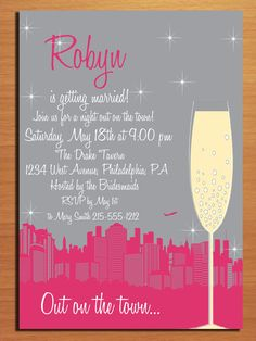 Customized Printable Bachelorette Party Invitations / Night Out on the Town DIY