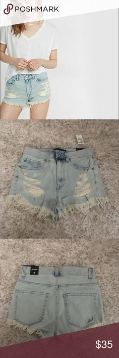 Express High waisted destroyed denim cutoff shorts Brand: Express  Item: high waist destroyed denim cut off shorts  Size: 6  Condition: new with tags Express Shorts Jean Shorts
