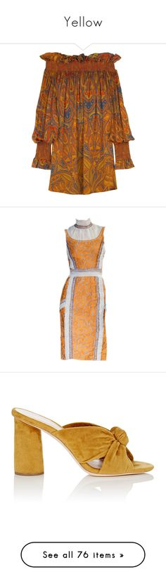 """""""Yellow"""" by miss-amazing-grace ❤ liked on Polyvore featuring dresses, alexander mcqueen, net dress, paisley print dresses, paisley dresses, brown dresses, paisley day dress, shoes, heels and sandals"""