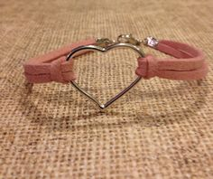 Silver Heart Pink Leather Bracelet on Etsy, $5.00