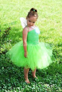 Tinkerbell Tutu Green Fairy Costume including wings and wand ...