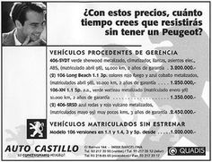 Black and White newspaper ad for Auto Castillo, second hand car dealer in Barcelona, Spain.