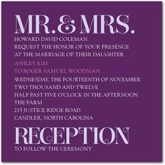 Signature White Wedding Invitations Today's Titles - Front : Amethyst