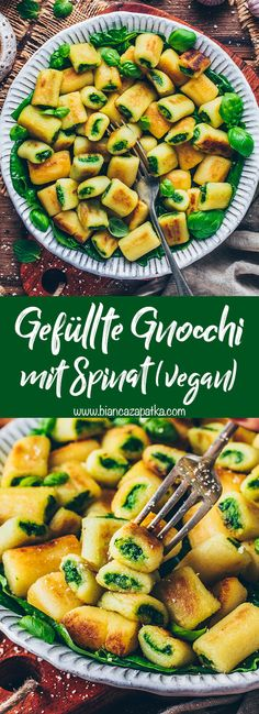 chicken recipes easy This is a super simple vegan gnocchi recipe for tasty homemade mini potato dumplings that are stuffed with green spinach pesto. These gnocchi are crispy on the Vegan Recipes Easy, Healthy Dinner Recipes, Vegetarian Recipes, Healthy Gnocchi Recipes, Salmon Recipes, Chicken Recipes, Spinach Recipes, Potato Recipes, Vegan Gnocchi Recipe