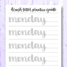 Words Gone Brushy: Days and Months Brush Lettering Worksheet, Calligraphy Worksheet, Hand Lettering Practice, Calligraphy Practice, Handwriting Practice, Calligraphy Letters, Calligraphy Templates, Lettering Guide, Handwriting Fonts