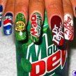 Nails with the name of soda brands .maybe nice for hanging out with friends 14 Examples of Creative Nail Art Crazy Nail Designs, Creative Nail Designs, Nail Polish Designs, Creative Nails, Acrylic Nail Designs, Nail Art Designs, Nails Design, Acrylic Nails, Fingernail Designs