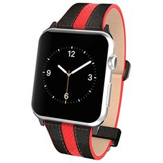 Apple Watch Pebble Leather Dual Material Band, Poetic [Premium Leather] Apple Watch 38mm Replacement Band **NEW** [Volante] - Premium Material Pebble Leather with Quilted Leather and Red Sport Stitching Design and Wide Band with Integrated Metal Clasp for Apple Watch 38mm (2015) - Black/Red (3-Year Manufacturer Warranty From Poetic)