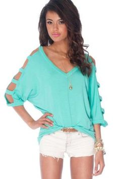 d130c7f4dbc8f Ladder Sleeve Knit Top in Emerald    tobi Summer Outfits