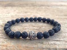 Men's Bracelet - Black Lava Stone & Bali Silver - Men's Bohemian Jewelry