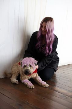 People always say that owners and dogs share similar features--well check it out! With Hair chalk the resemblance is unmistakeable! Coordinate colors with your furry friend next time you use #hothuez