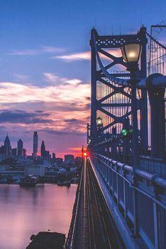 Sunset on the Brooklyn Bridge ...