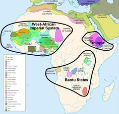 The empires of Africa, before colonialism. This map of indigenous African empires is not exhaustive. It spans two thousands years from 500 B.C. to 1500 A.D., so these empires were not concurrent; some existed centuries apart.