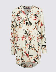 Marks and Spencer Floral Print Notch Neck Long Sleeve Tunic Shirts & Tops, Long Sleeve Tunic, Knitwear, Floral Prints, Shirt Dress, Lady, Mens Tops, Clothes, Collection