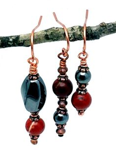 Hematite Earrings  pure copper  coordinates by PineBranchDesigns