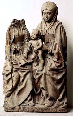 Skåne, Onslunda, unknown artist, late 15th century. Objets Sculpture en bois / Ste Anne trinitaire. Skåne, Onslunda.Lund University Historical Museum (inv.nr. 18508).