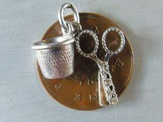 Vintage Sterling Silver Charm Scissors Thimble | eBay