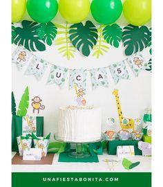 Kit imprimible para fiestas temática - Selva, ideal para fiestas de cumpleaños, baby shower, primer añito.