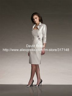 3 4 Length Sleeve Sheath Beige Knee Length Mother of the Bride Dresses with Jacket YH087 US $126.00