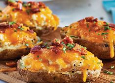 Plank-Grilled Stuffed Potato Skins - Sobeys Inc. Bacon Stuffed Mushrooms, Stuffed Peppers, Chutney, Grilled Avocado, Healthy Superbowl Snacks, Bite Size Appetizers, Bacon Wrapped Asparagus, Goat Cheese Recipes, Pork Chops