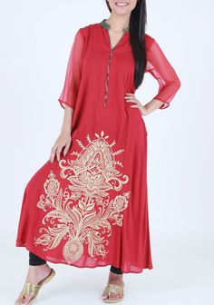 Red Cotton Kurti by PakRobe.com