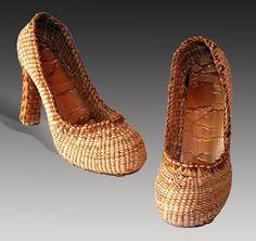 "Lisa Telford | ""High Heels"". Haida. Red and yellow cedar bark"