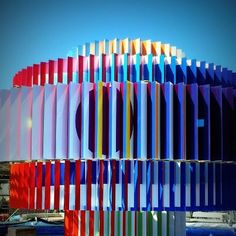 Beautiful colors at the Agam fountain in Dizengoff square in Tel Aviv. Click the image to read about Israel and Tel Aviv. (image via atlas.coil).
