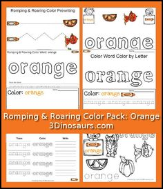 Free Romping & Roaring Color Pack Orange - 8 pages of activities focused on the color word orange - 3Dinosaurs.com