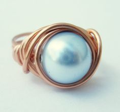 Copper Ring  Light Blue Swarovski Crystal Pearl by DistortedEarth, $5.50
