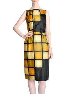 Oleg Cassini Vintage 1960s Silk Square Print Dress - from Amarcord Vintage Fashion