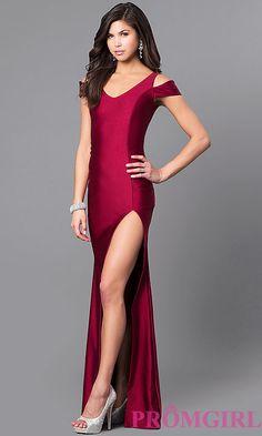 Long Prom Dress with V-Neck Cold Shoulder Neckline ddfdcd422dbb