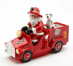 Cosmos Santa on Firetruck Salt and Pepper Set, 5.6-Inch Long by Cosmos. $24.99. Salt and Pepper set. Dolomite. Hand wash this item, do not put in dishwasher. Multi colored, will look great with your holiday d?cor. Excellent construction with dolomite. Hand wash. 3 piece set salt and pepper. Unique, one of a kind Santa driving a fire truck, magnetic salt and pepper set.