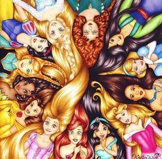 Aurora, Jasmine, Ariel, Rapunzel, Belle, Tiana, Anna, Snow White, Elsa, Merida, Pocahontas, Cinderella, and Mulan.