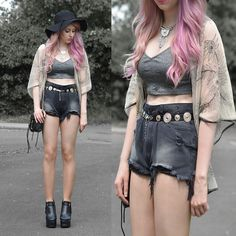 Dolls Kill Unif Hangover Shorts, Oasap Bag, Choies Floppy Hat, Jollychic Boots