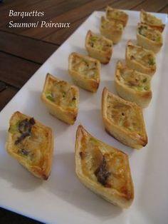 J'en reprendrai bien un bout...: Déclinaisons de Petites Bouchées Salées - Barquettes Saumon/Poireaux, Cakes Saumon/Pétoncles, Cakes à la Provençale