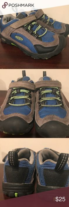 Toddler Boy's Keen Sneakers Size 12, toddler boy's Keen sneakers, blue, gray, neon green. Still in great condition. My son usually out grows Keens rather than having to get a new pair because of wear. These are not the water resistant style. Keen Shoes Sneakers