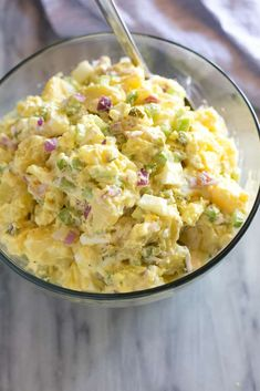 Traditional Potato Salad - - Traditional Potato Salad made with Yukon Gold potatoes, hard boiled eggs, and a simple creamy dressing. An easy recipe perfect for any party or BBQ! Best Potato Salad Recipe, Creamy Potato Salad, Yukon Gold Potato Salad Recipe, Nutrition Education, Traditional Potato Salad Recipe, Chefs, Salad Recipes Video, Bbq, Cooking Recipes