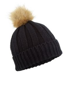 Accessorize Classic Rib Pom Beanie Hat ( 33) ❤ liked on Polyvore featuring  accessories a952a758301f