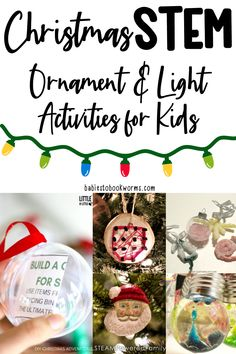 Make learning fun this holiday season with Christmas STEM activities for kids! #STEM #Christmas Holiday Activities For Kids, Winter Activities, Christmas Crafts For Kids, Christmas Goodies, Preschool Activities, Christmas Ideas, Bubble Christmas Lights, Engineering Challenges, Christmas Worksheets