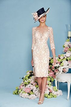 Newdeve Light Pink Lace 3/4 Sleeves Knee Length Formal Mother Dresses (16W) at Amazon Women's Clothing store: