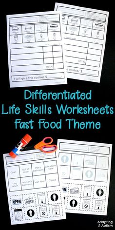 These life skills worksheets will give your special education students practice with basic skills they need for community independence. Put these no prep tasks in your work stations before a community based instruction trip to a fast food restaurant. Life Skills Lessons, Life Skills Activities, Life Skills Classroom, Teaching Life Skills, Special Education Classroom, Classroom Activities, Autism Education, Education Jobs, Autism Activities