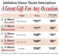 Best Deal to see our Shows! Good for consecutive shows and restriction's apply in the month of December and Special Dates. Call 780-484-2424 to get this great deal!
