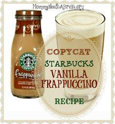 Mommy Needs A Break: CopyCat Starbucks Vanilla Frappuccino Recipe. Use vanilla soy or coconut creamer to make it vegan! Starbucks Frappuccino Recipe Vanilla, Starbucks Recipes, Starbucks Drinks, Coffee Recipes, Coffee Drinks, Coffee Frappuccino, Coffee Meme, Coffee Coffee, Starbucks Coffee