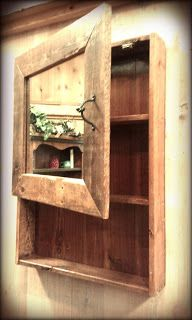 Rustic Barn Wood Medicine Cabinet w/Mirror by TimberCreekFurniture --- could mount this on side wall and then see the back of my hair when open Barn Wood Projects, Reclaimed Wood Projects, Home Projects, Pallet Projects, Rustic Furniture, Diy Furniture, Furniture Plans, System Furniture, Furniture Chairs