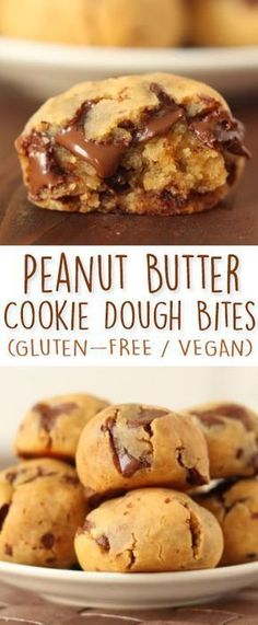 Peanut butter chocolate chip cookie dough bites with a secret ingredient! {natur… Peanut butter chocolate chip cookie dough bites with a secret ingredient! {naturally gluten-free and grain-free with a vegan / dairy-free option} Delicious Desserts, Dessert Recipes, Yummy Food, Paleo Recipes, Chickpea Recipes, Vegan Cookie Recipes, Bisquick Recipes, Cooking Recipes, Peanut Butter Recipes